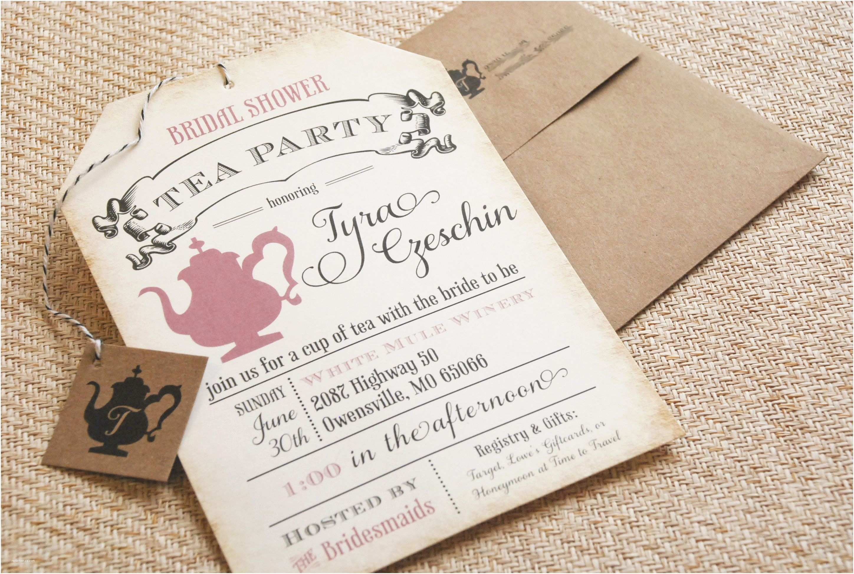 Bridal Party Invitations Bridal Shower Tea Party Invitations Bridal Shower Tea