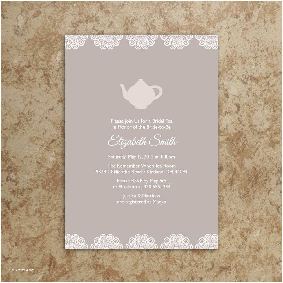 Bridal Party Invitations Bridal Shower Tea Party Invitations – Gangcraft
