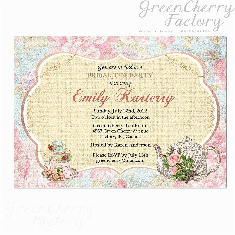 Bridal Party Invitations Bridal Shower Tea Party Invitations