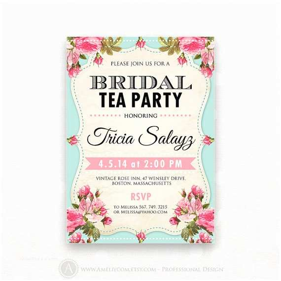 Bridal Party Invitations Printable Bridal Shower Invitation Bridal Tea Party Invite