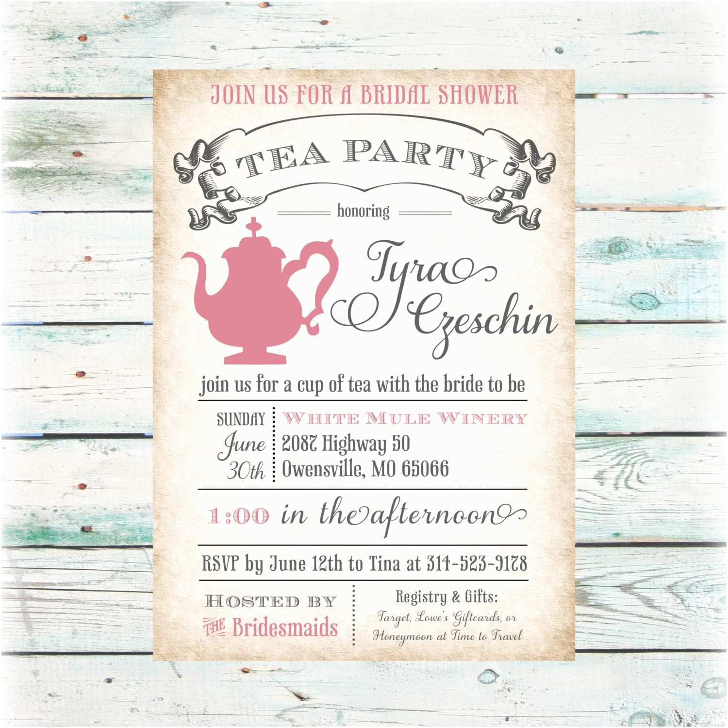 Bridal Party Invitations Tea Party Bridal Shower Invitation Diy Digital File