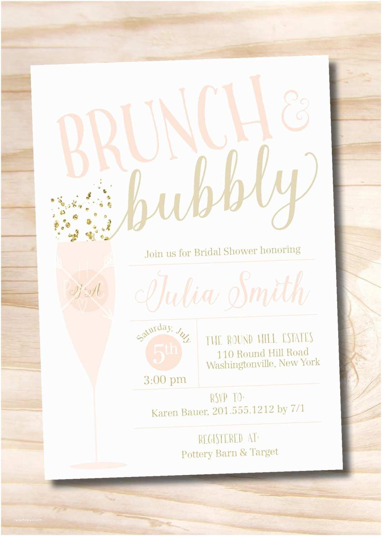 Bridal Shower Brunch Invitations Brunch and Bubbly Bridal Shower Invitation Confetti Glitter