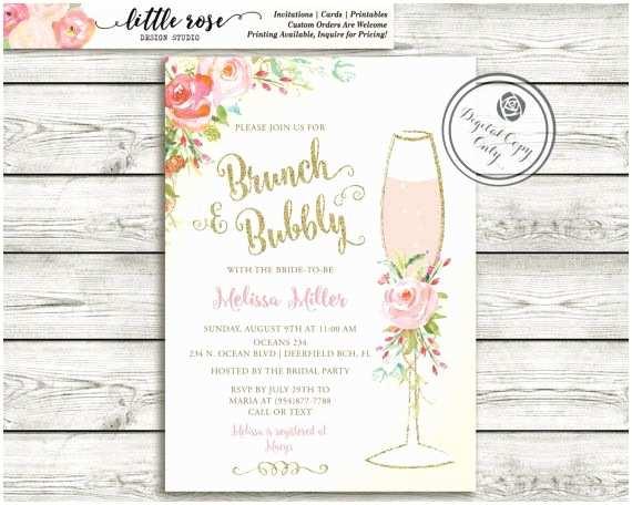 Bridal Shower Brunch Invitations Brunch and Bubbly Bridal Shower Invitation Wedding