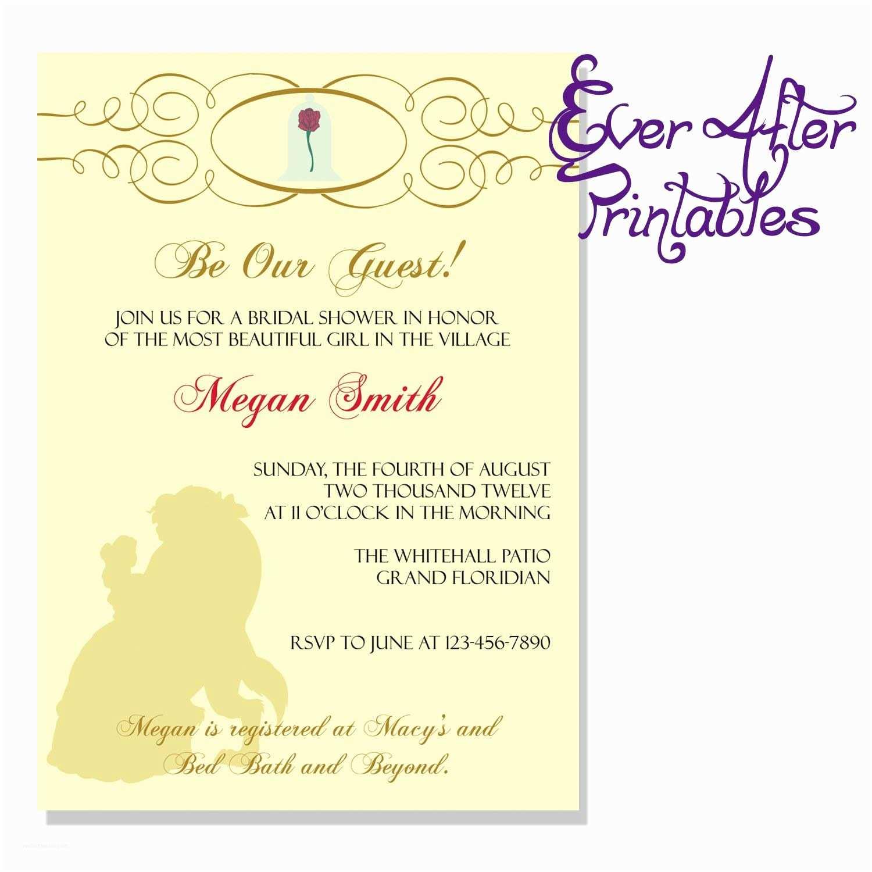 Bridal Shower Invitation Ideas Beauty and the Beast Invite