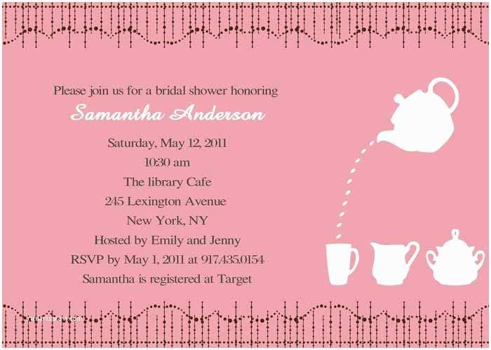 Bridal Shower Invitation Templates Cheap Print Pink Bridal Shower Tea Party Invitations