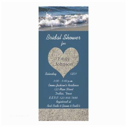 """Bridal Shower Invitations Beach theme Beach theme Bridal Shower Invitation 4"""" X 9 25"""" Invitation"""
