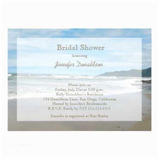 """Bridal Shower Invitations Beach theme Beach themed Bridal Shower Invitations 5"""" X 7"""" Invitation"""