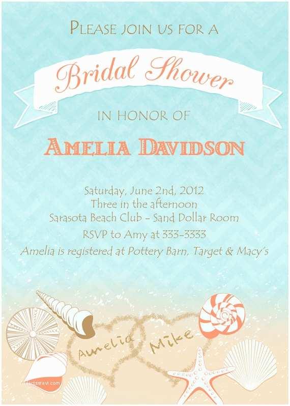 Bridal Shower Invitations Beach theme Bridal Shower Invitations Free Printable Bridal Shower