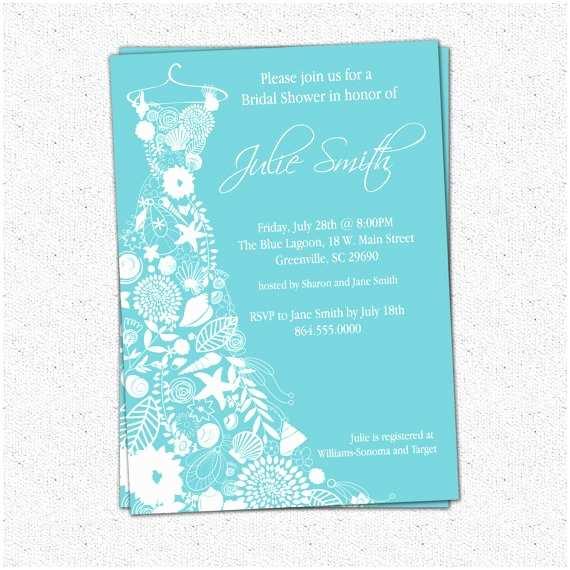 Bridal Shower Invitations Beach theme Printable Bridal Shower Invitation Floral Seashell Dress
