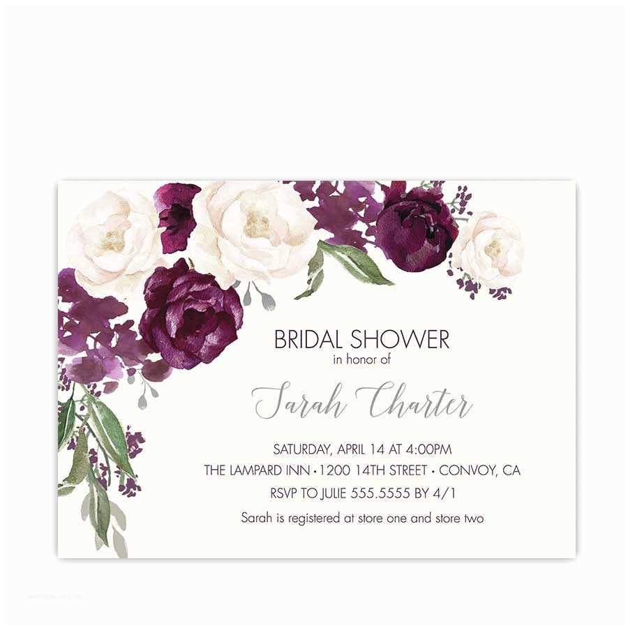 Bridal Shower Invitations Bridal Shower Invites Purple Bridal Shower Invitations