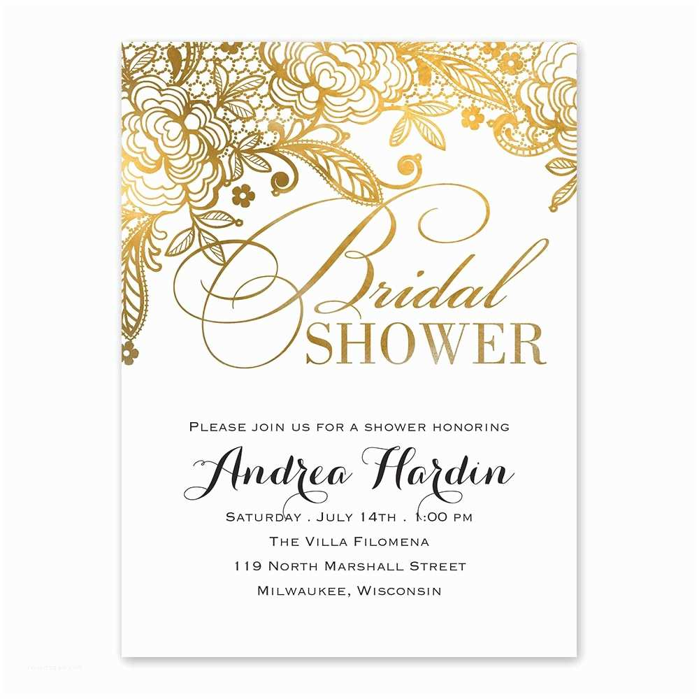 Bridal Shower Invitations Cheap Gold Lace Bridal Shower Invitation