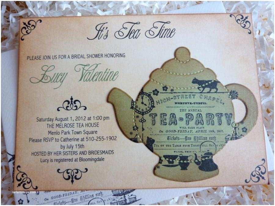 Bridal Shower Tea Party Invitations Bridal Tea Party Invitation High Tea Shower Invite