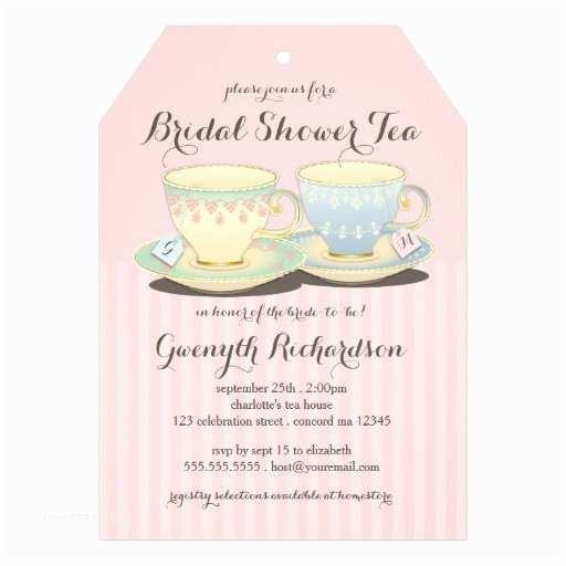 "Bridal Shower Tea Party Invitations Chic Teacup Duet Bridal Shower Tea Party 5"" X"