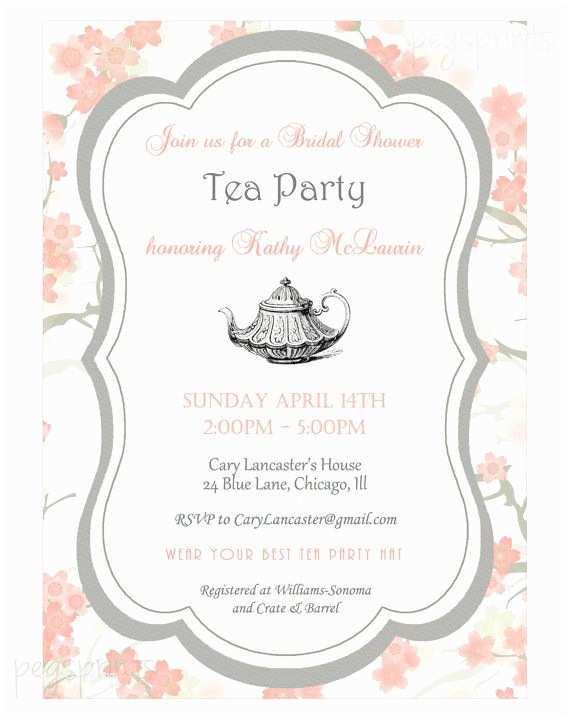 Bridal Shower Tea Party Invitations Floral Bridal Shower Tea Party Invitation