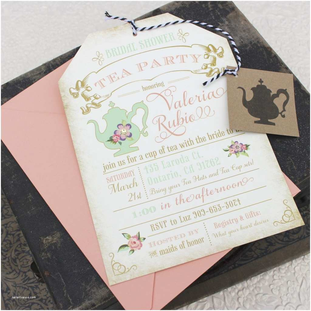 Shower Tea Party Invitations Floral Tea Party  Shower Invitation Custom