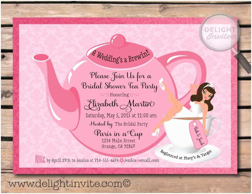Bridal Shower Tea Party Invitations Party Invitations Simple Detailtea Party Invitation
