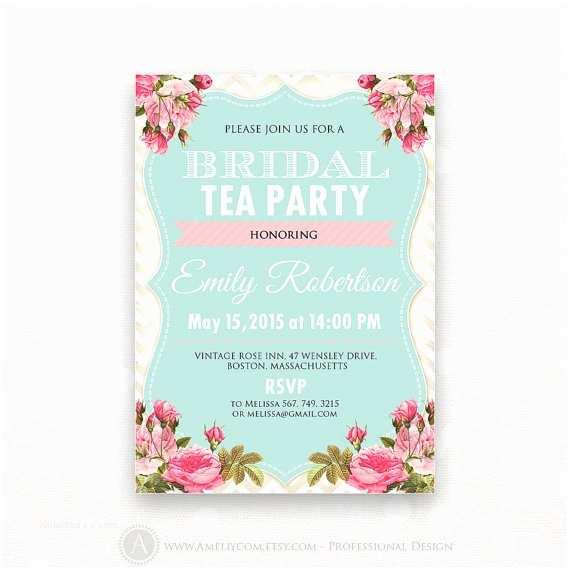 Bridal Shower Tea Party Invitations Printable Bridal Shower Invite Spring Bridal Brunch