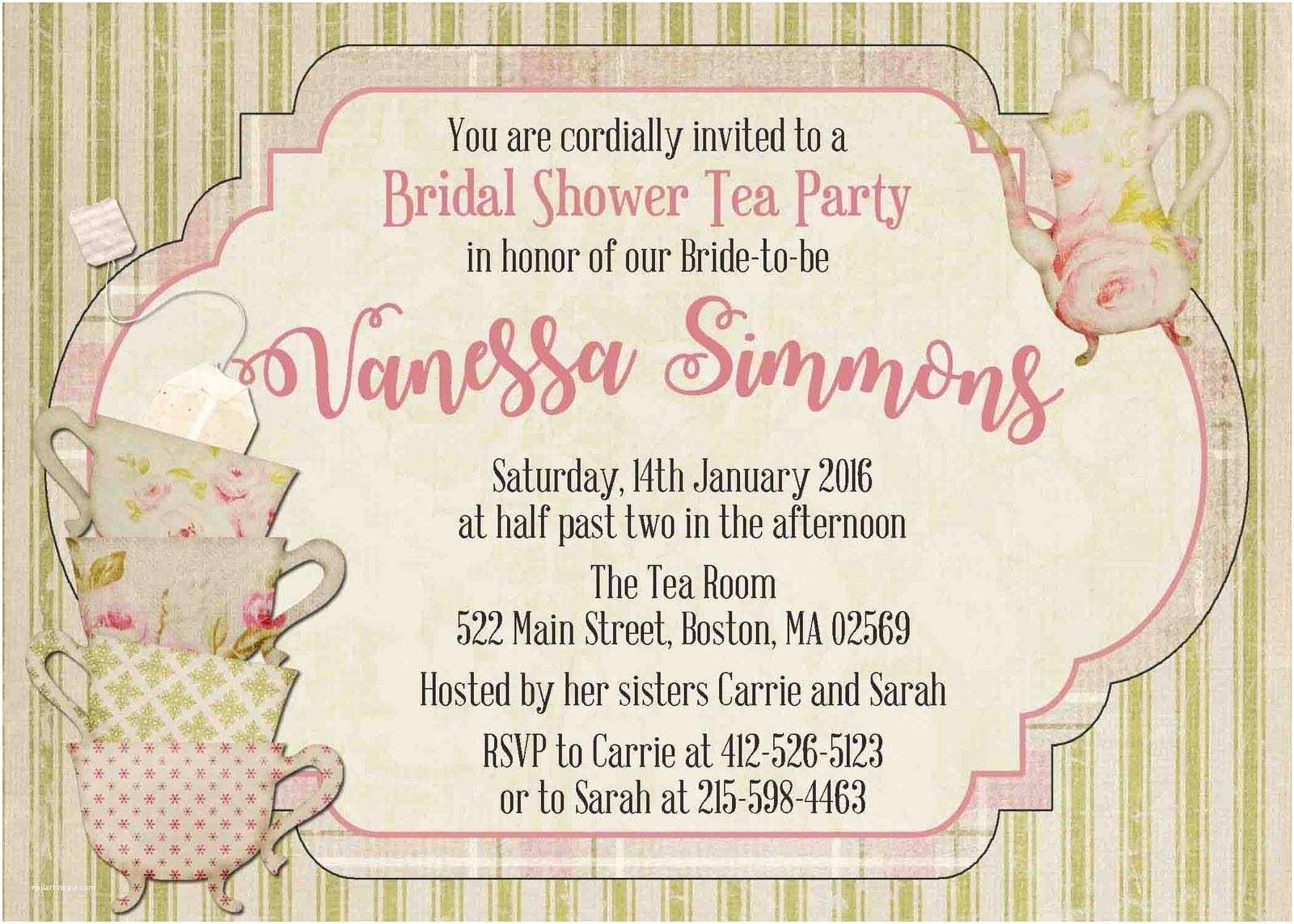 Bridal Tea Party Invitations Vintage Bridal Shower Tea Party Invitation and 50