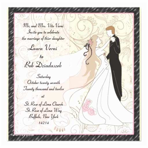 "Bride and Groom Wedding Invitations Bride and Groom Wedding Invitation 5 25"" Square Invitation"