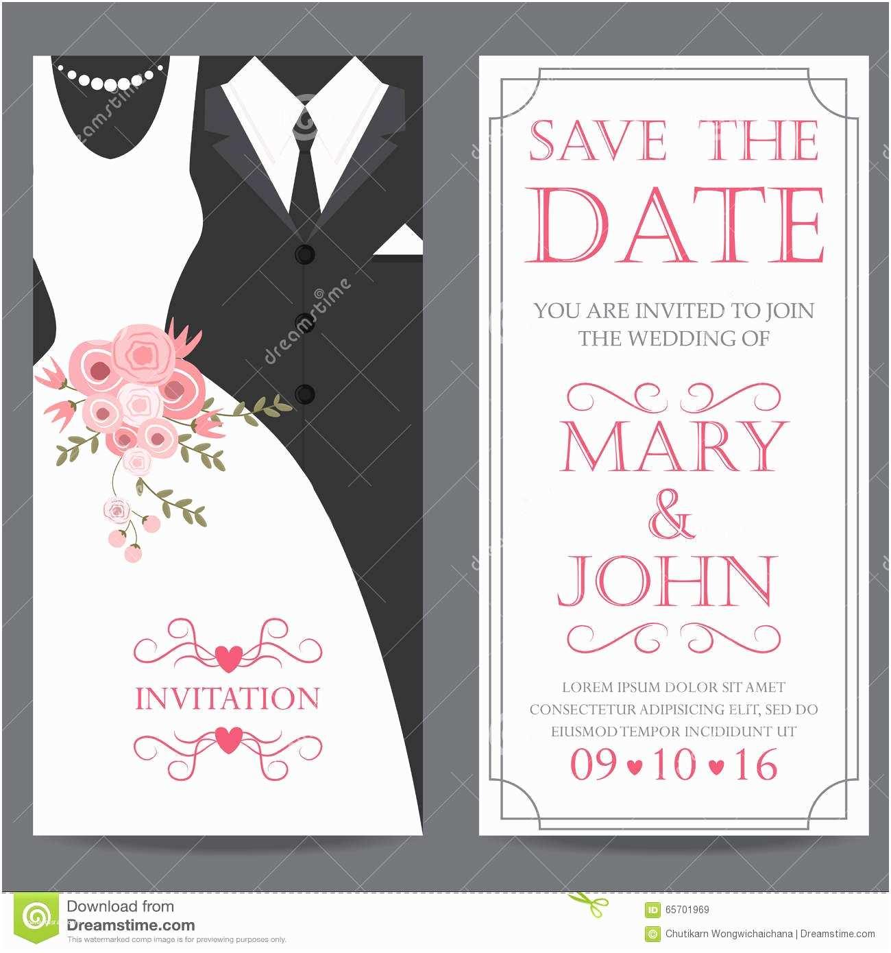 Bride and Groom Wedding Invitations Bride and Groom Wedding Invitation Card Stock Vector