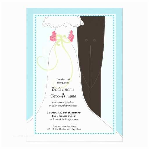 """Bride and Groom Wedding Invitations Cute Bride and Groom Wedding Invitations 5"""" X 7"""
