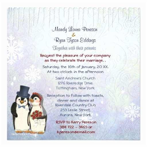 Bride and Groom Wedding Invitations Penguin Bride and Groom Wedding Invitation Square 5 25