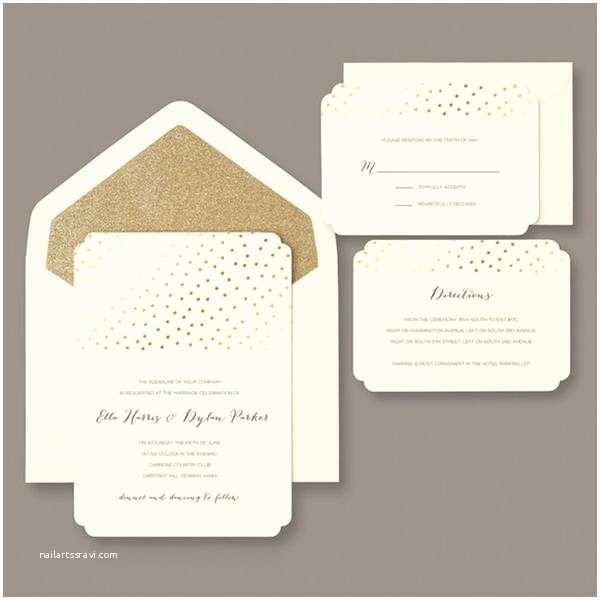 Brides Wedding Invitation Kits Brides Gold Glitter and Foil Dot 30 Count Invitation Kit