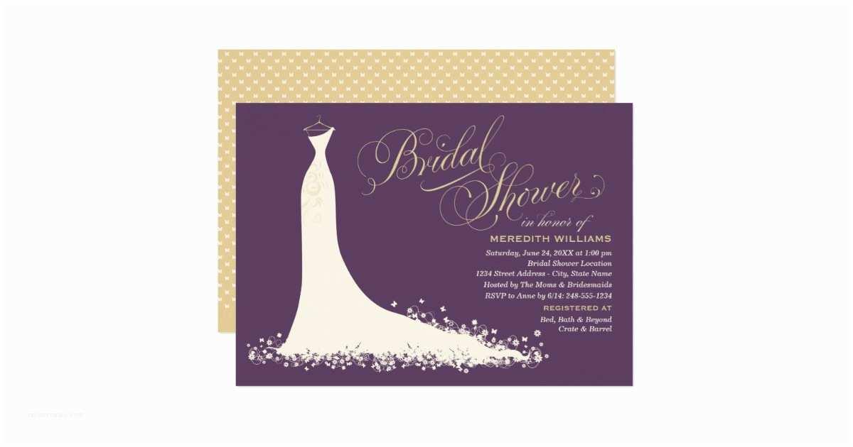 Brides Wedding Invitations Bridal Shower Invitation Elegant Wedding Gown