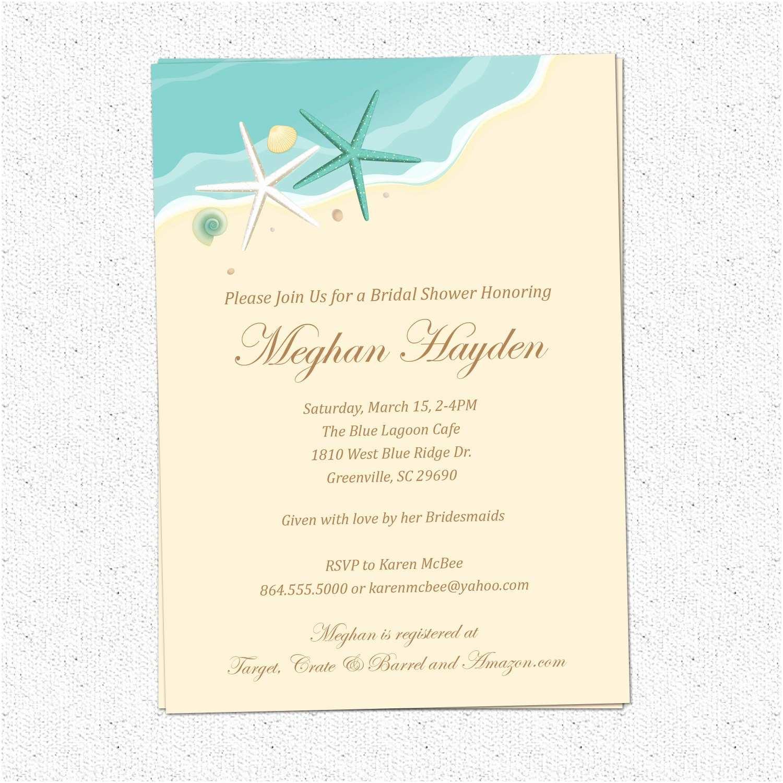 Brides Wedding Invitations Bridal Shower Invitations Elegant Beach theme Bridal