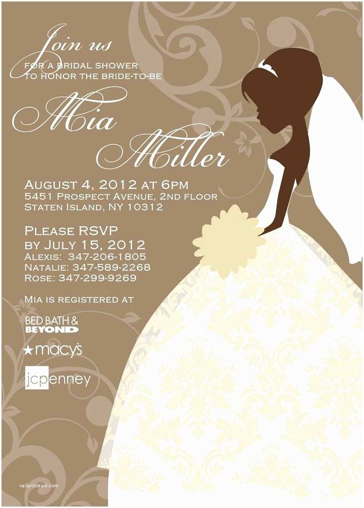 Brides Wedding Invitations Bridal Shower Invite Templates Free