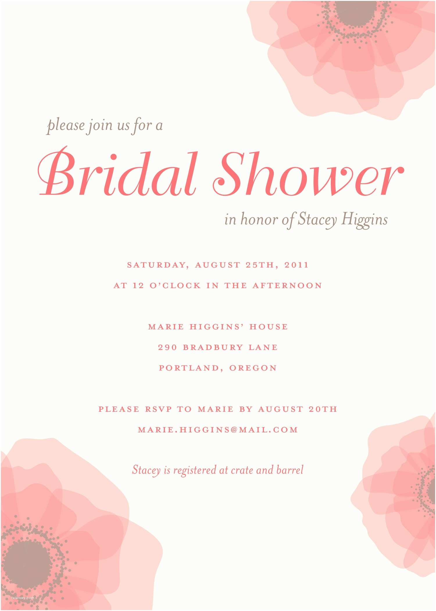 Brides Wedding Invitations Bridal Shower Save the Date Wording