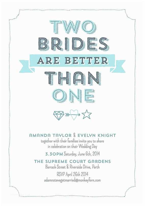 Brides Wedding Invitations Two Brides are Better Than One Lesbian Wedding Invitation