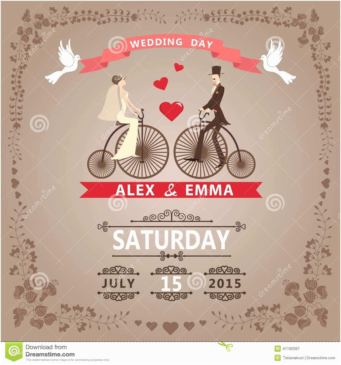 Brides Wedding Invitations Wedding Invitation with Bride Groom Retro Bicycle Floral