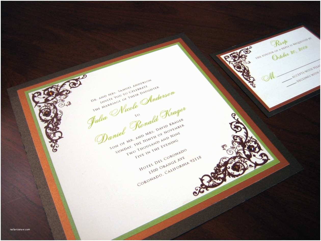 Brown Invitations Wedding Brown and Green Wedding Invitation – A Vibrant Wedding
