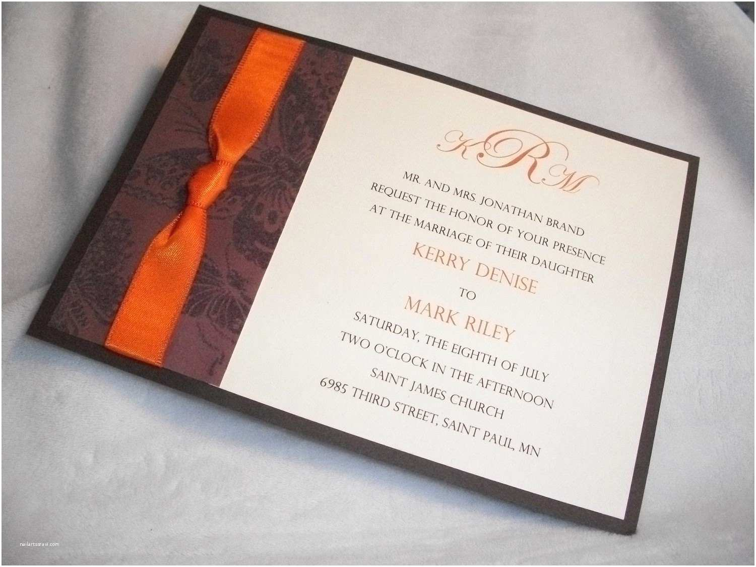 Brown Invitations Wedding Chocolate Brown and Burnt orange 5 X 7 Wedding Invitation