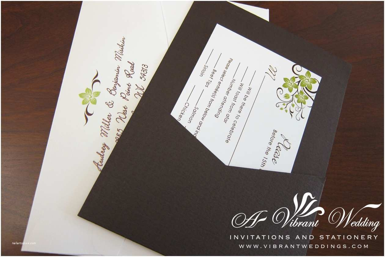 Brown Invitations Wedding Green and Brown Wedding Invitation – A Vibrant Wedding