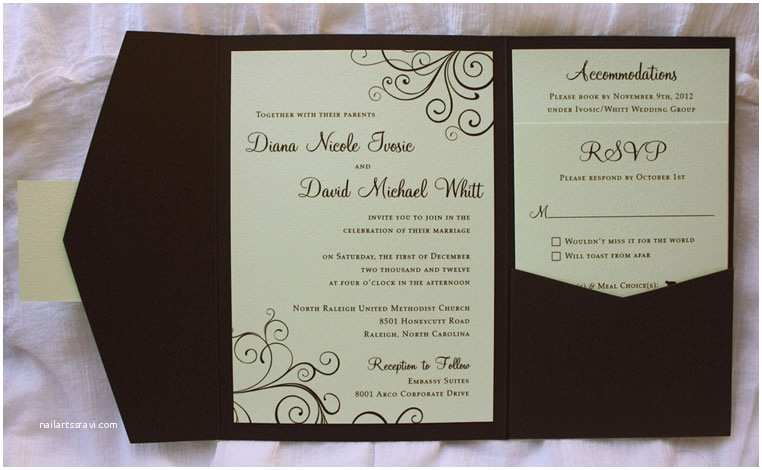 Brown Invitations Wedding Mint Green & Chocolate Brown Swirl Pocketfold Wedding