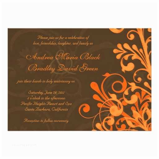 Brown Invitations Wedding orange and Brown Floral Fall Wedding Invitation