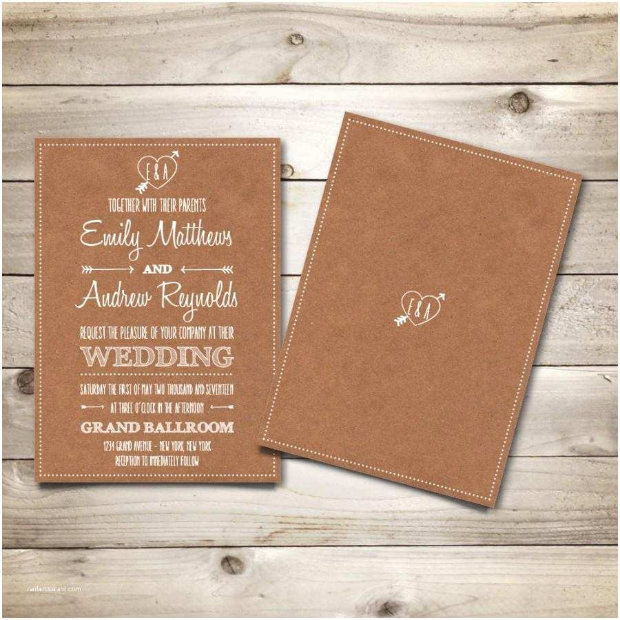 Brown Invitations Wedding Printable Vintage Style Wedding Invitation Template