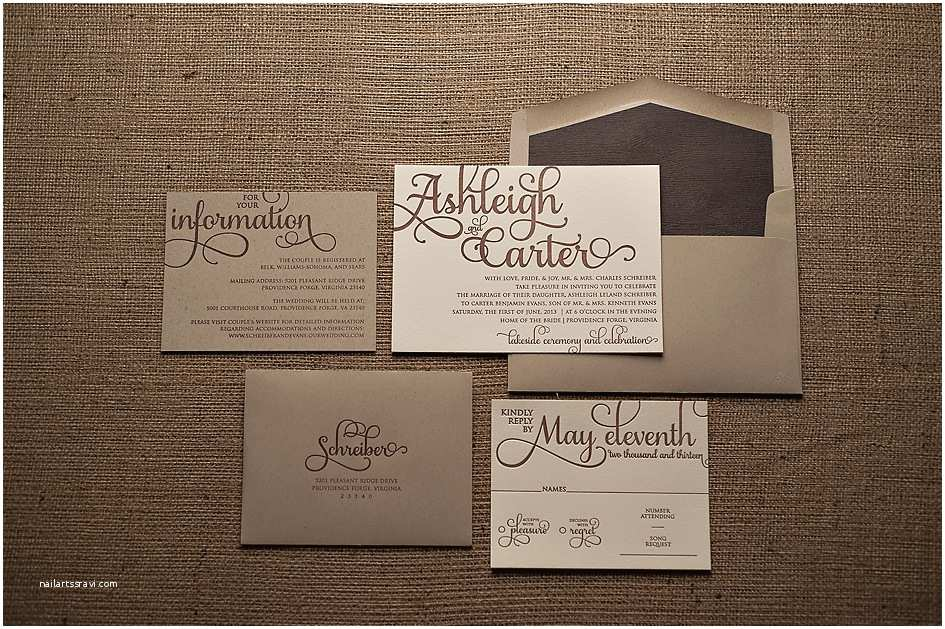 Brown Invitations Wedding Real Wedding ashleigh and Carter