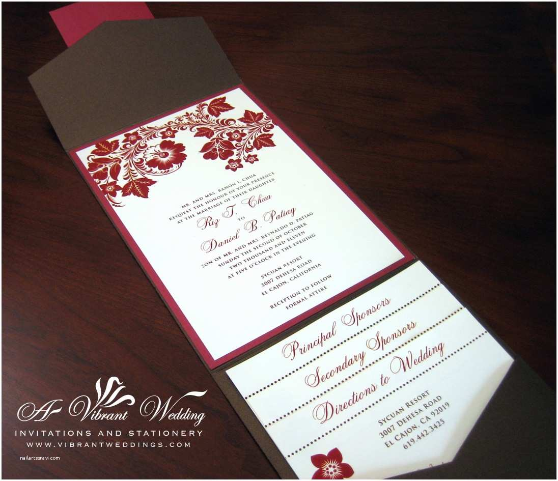 Brown Invitations Wedding Red and Brown Wedding Invitation – A Vibrant Wedding