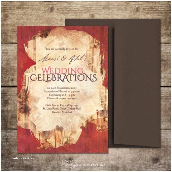 Brown Invitations Wedding Red Gold and Brown Chocolate Indian Wedding Invitation