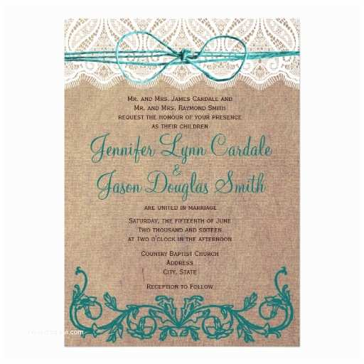 "Brown Invitations Wedding Rustic Country Lace Brown Teal Wedding Invitations 5"" X 7"
