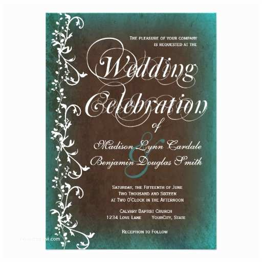 Brown Invitations Wedding Rustic Country Turquoise Brown Wedding Invitations