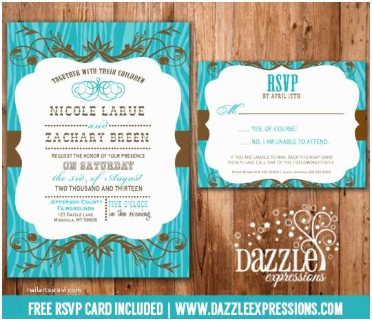 Brown Invitations Wedding Western Turquoise and Brown Wedding Invitation Rsvp Card