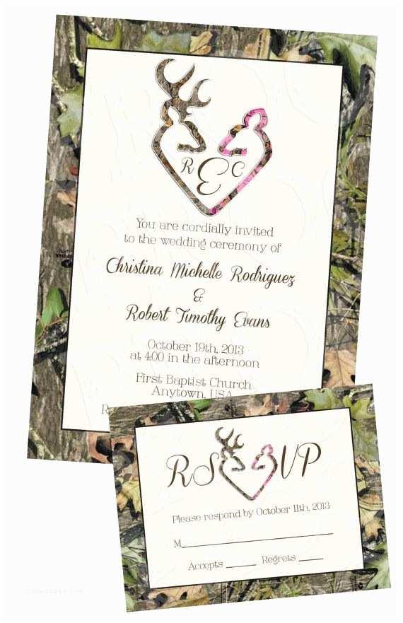 Browning Wedding Invitations Camo Deer Hearts Wedding Invitation and Rsvp Card