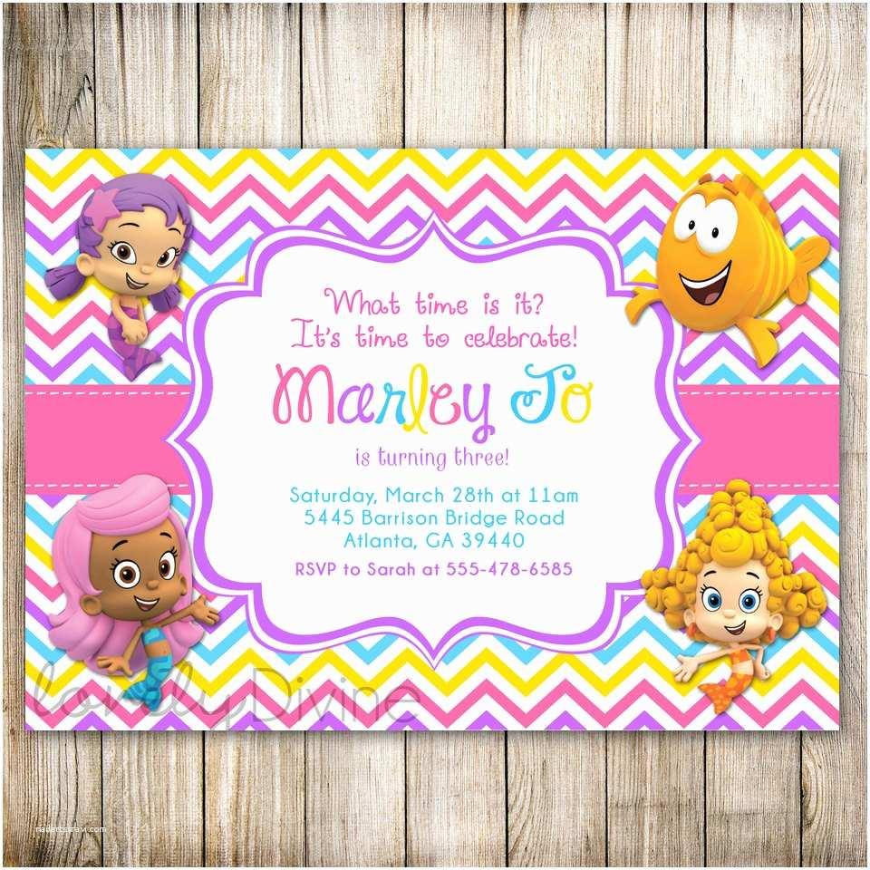 Bubble Guppies Birthday Invitations Bubble Guppies Birthday Invitation Chevron Birthday