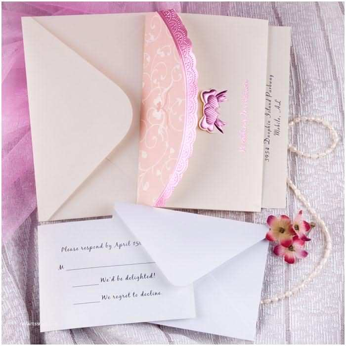 Budget Wedding Invites Beautiful Art Deco Embossed Tri Fold Bud White and Pink