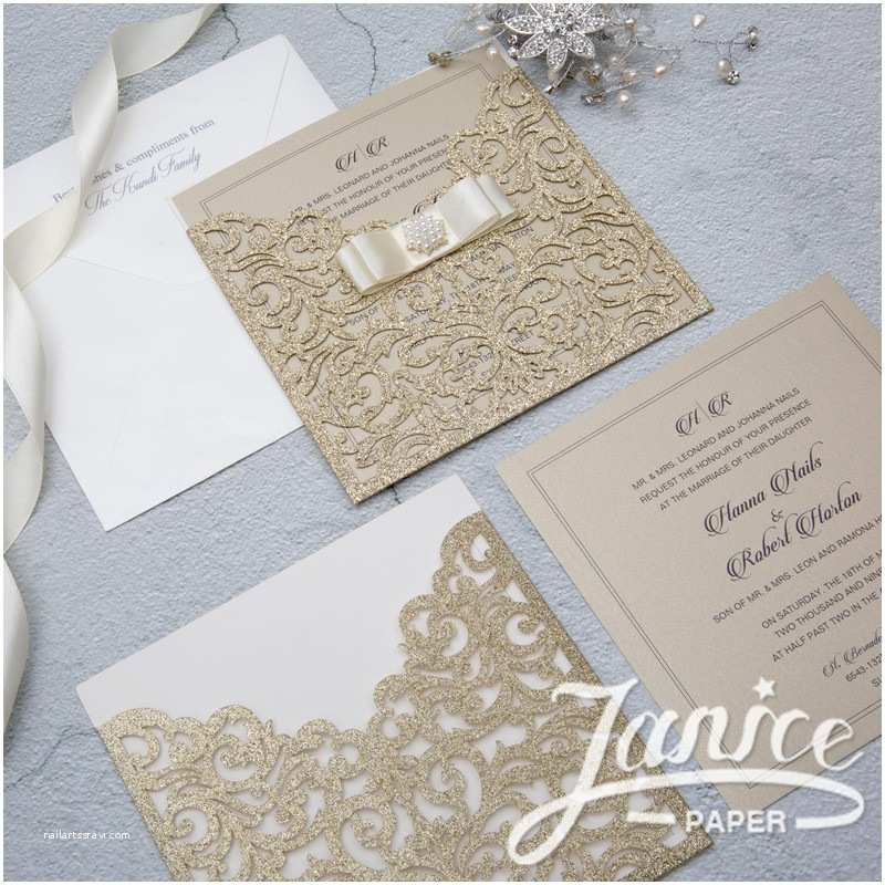 Bulk Wedding Invitations Elegant Pocket Glitter Paper Laser Cut wholesale Wedding