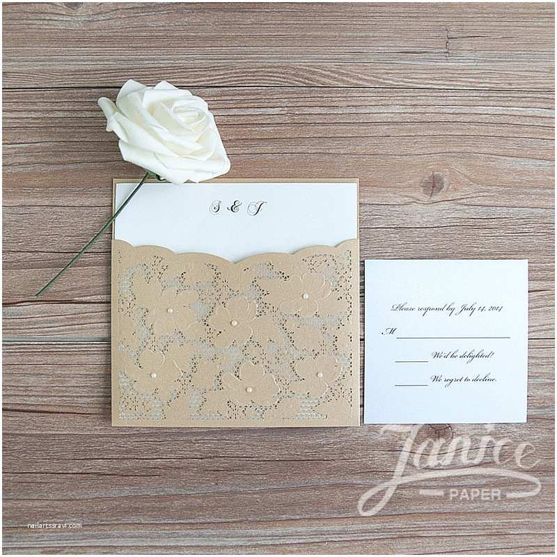 Bulk Wedding Invitations Fancy Floral Pearl Laser Cut wholesale Pocket Wedding